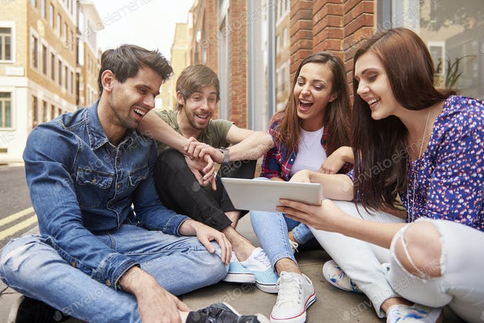 Young people browsing the Internet