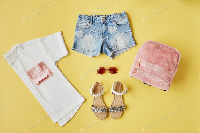 Flat Lay Shot Of Female Summer Clothing