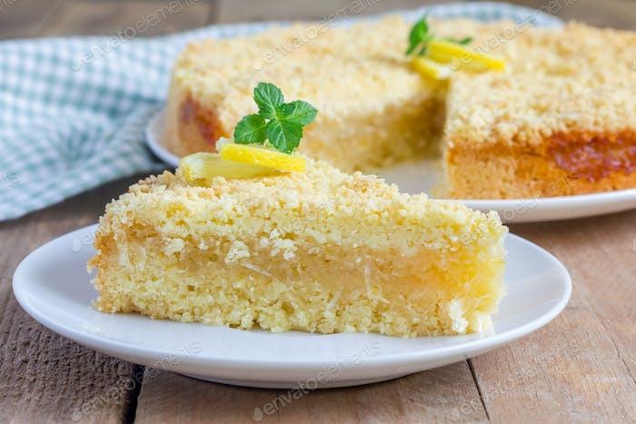 Hausgemachte Mürbeteile Zitronenkuchen, Nahaufnahme