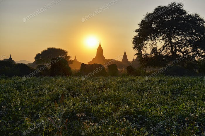 Sunset over distant stupa of temple in Bagan, Myanmar.