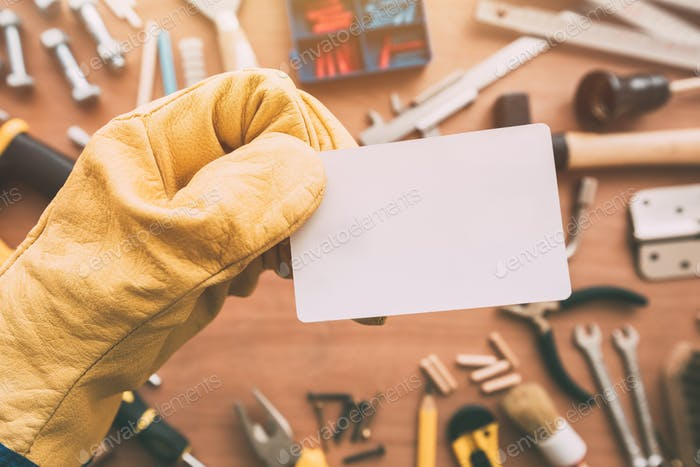 Repairman blank business card as copy space