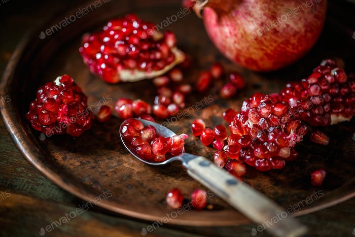 Fresh peeled pomegranates