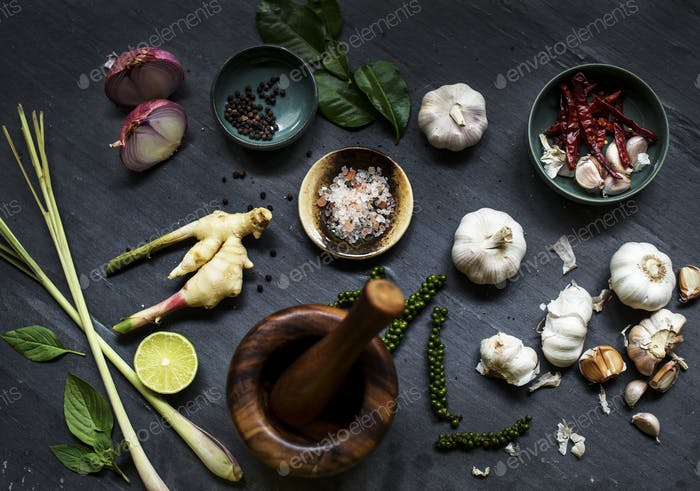 Aerial view of asian cooking ingredients with mortar
