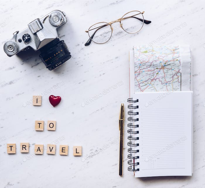 I love to travel words made from wooden letters. Travel concept