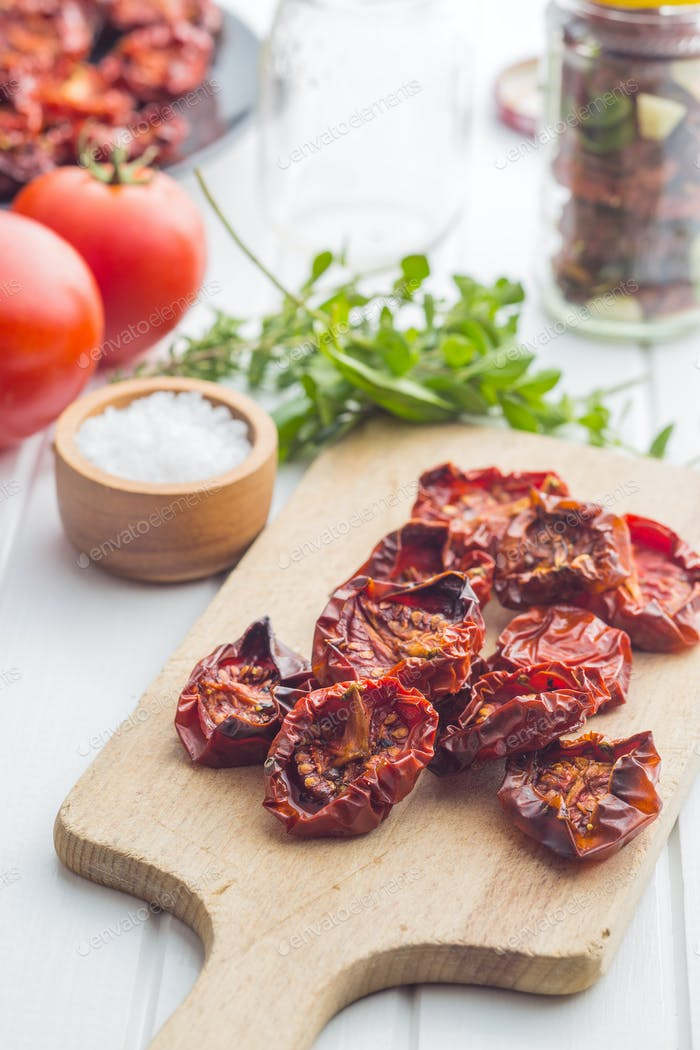 Tasty dried tomatoes and herbs.