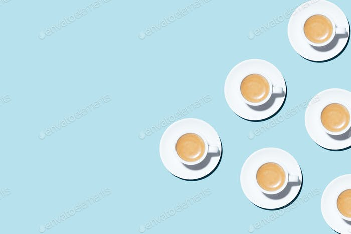 Pattern with Cups of Coffee on Blue Background.