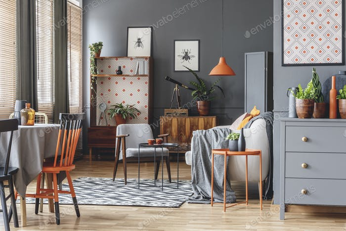 Orange and grey open space