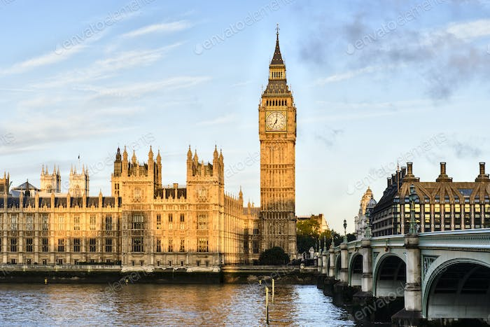 54876,Sunrise shining on Big Ben, London, United Kingdom