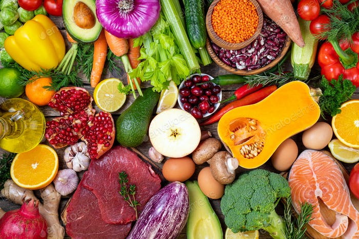 Background Healthy Food Vegetables, Fruits, Meat and Fish on table