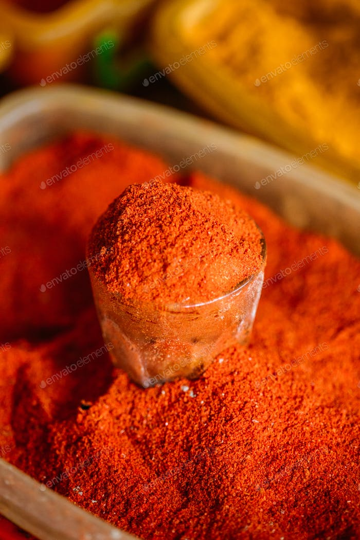 Close Of Powdered Cayenne Or Red Hot Chili Pepper On Sale At Eas