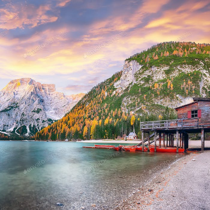 Marvelous scenery of famous alpine lake Braies at autumn.