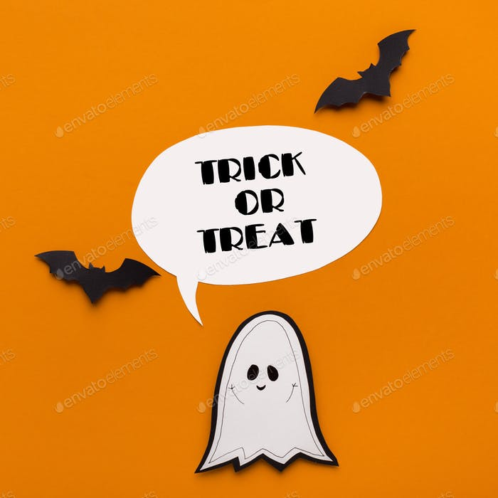 Halloween cute ghost with bats and text on orange