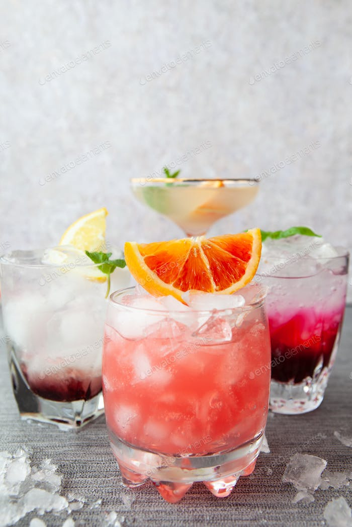 Variety of refreshing cocktails