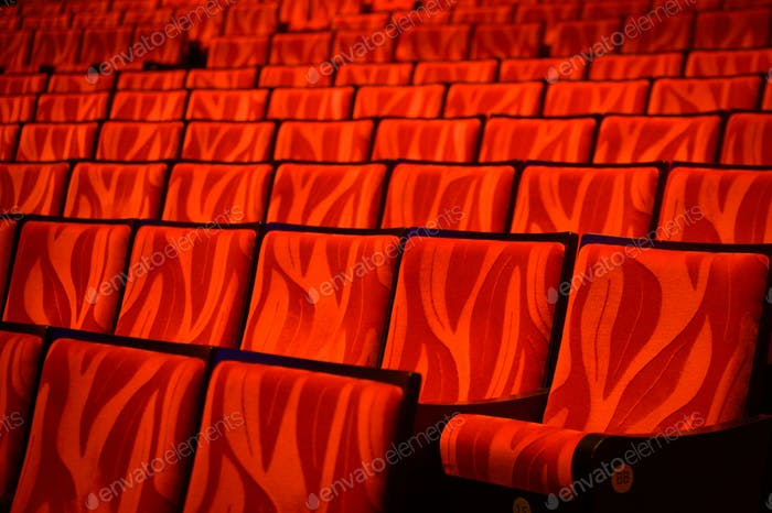 background of red cinema sofa with nobody
