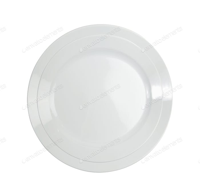 Empty white plate isolated on white