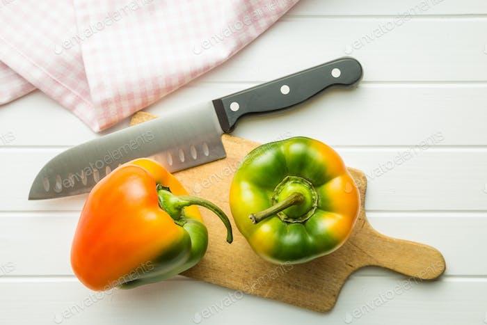 Multicolored bell pepper.