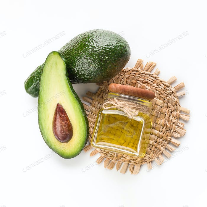 Avocado and oil in small bottle