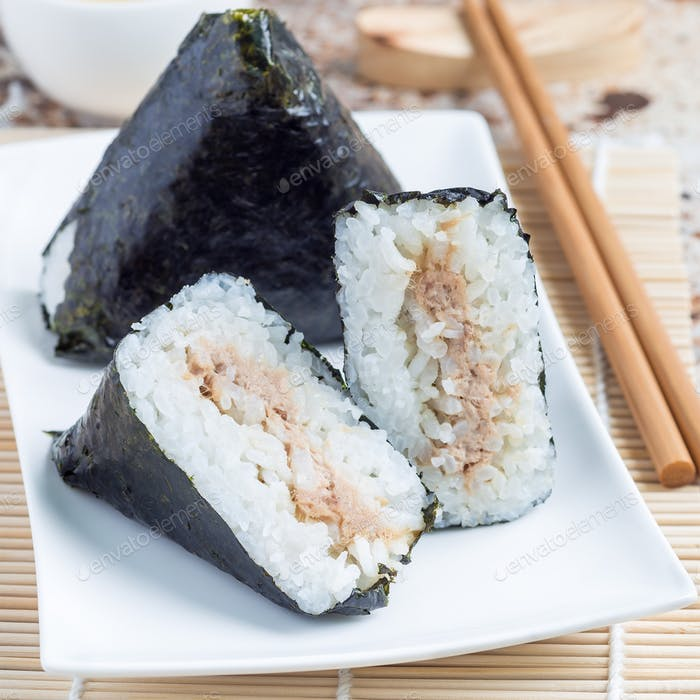 Korean triangle kimbap Samgak or Japanese rice ball onigiri, square