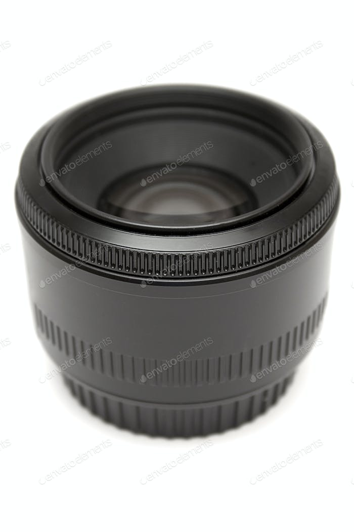 50mm Prime Lens Isolated on a White Background