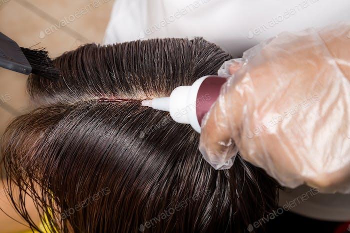 Hair dresser applying chemical hair color dye onto hair roots