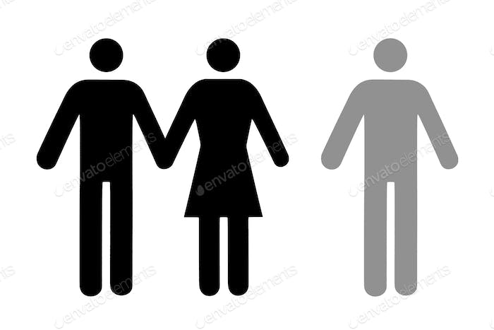 Couple and single icon flat