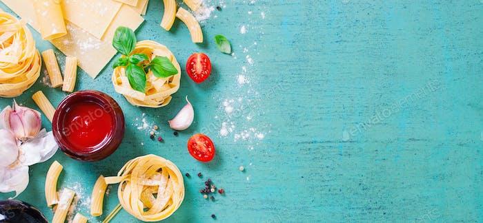 Italienisches Essen Pasta Lebensmittel Hintergrund