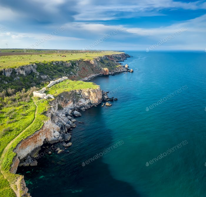 Aerial view with picturesque rocky coastline