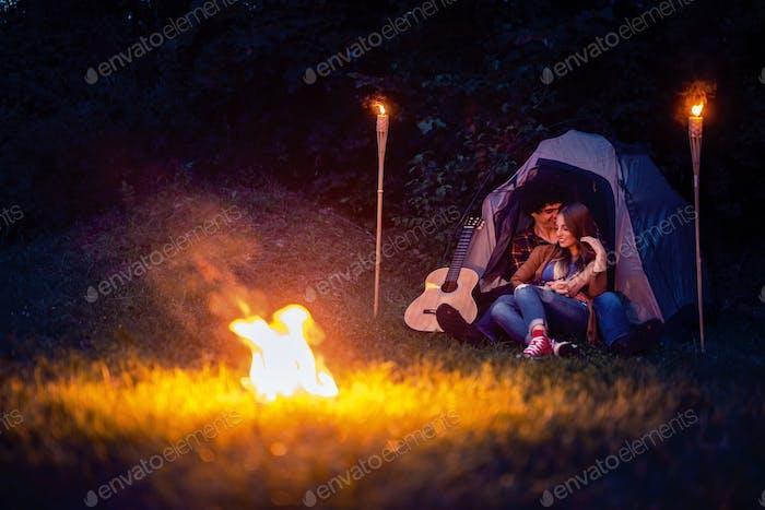 Romantic camping night