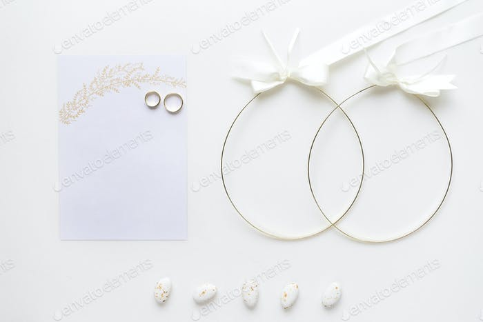 Wedding Invitation Card With Weddings Rings Crowns Candy And Or Photo By Sianstock On Envato Elements