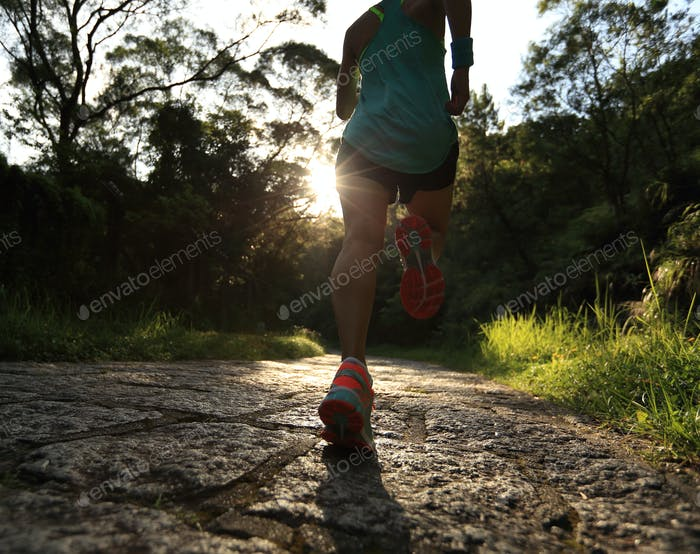 Running on forest trail