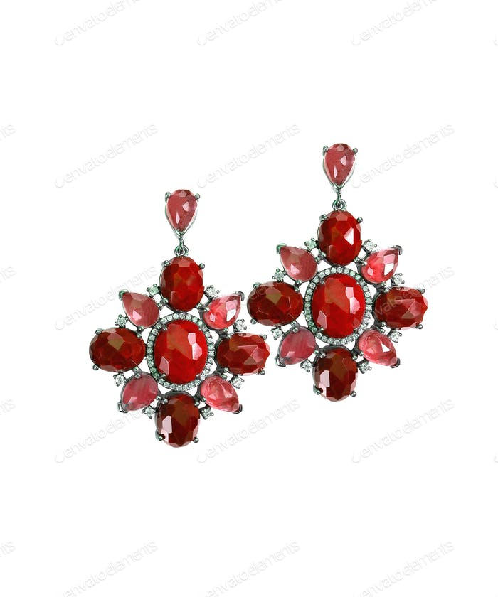 Ruby Red dangle drop gemstone earrings