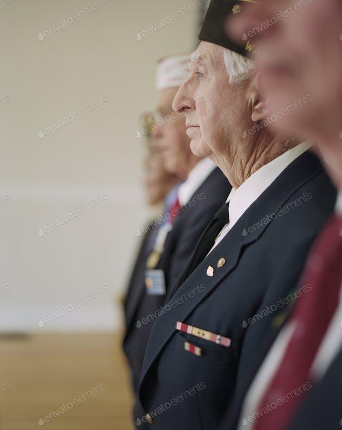 Group portrait of elderly United States war veterans