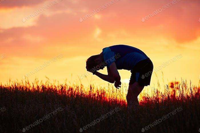 Runner at the sunset