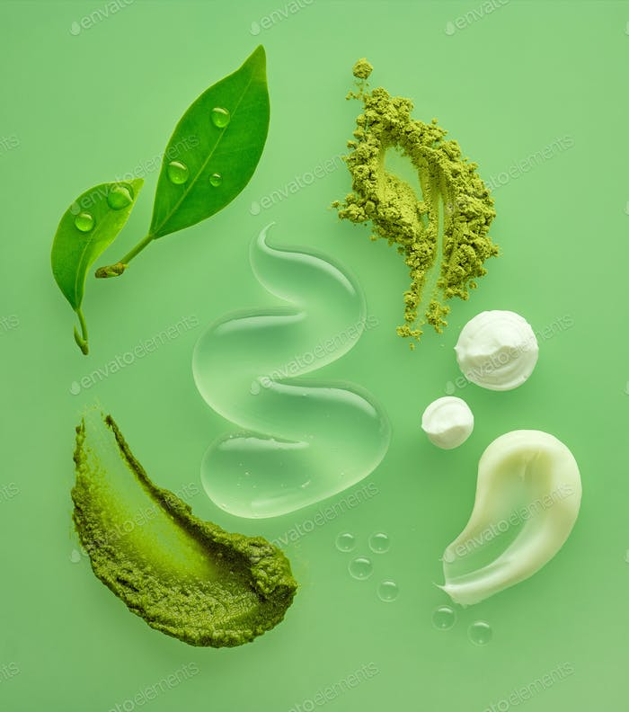 composition of various organic cosmetic products