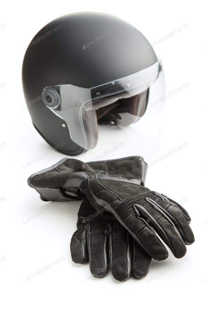 Motorcycle gloves and helmet.