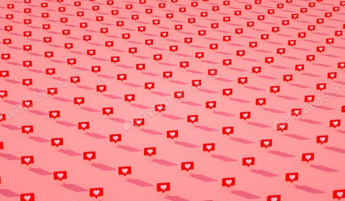 Many 3d social media notifications Love like heart icon in red rounded square pin pattern. 3d render