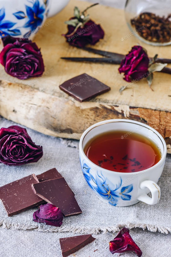 Cup of Tea with Chocolate Bars.