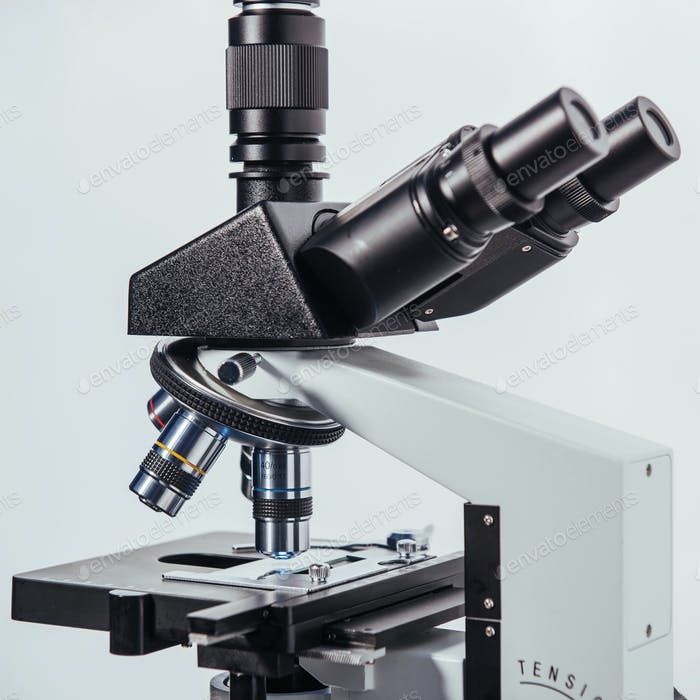 Close up of microscope at the laboratory.