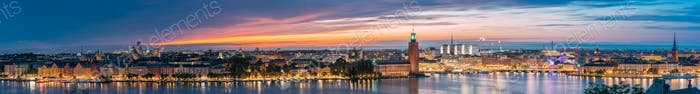 Stockholm, Sweden. Night Skyline With Famous Landmarks. Panorama,