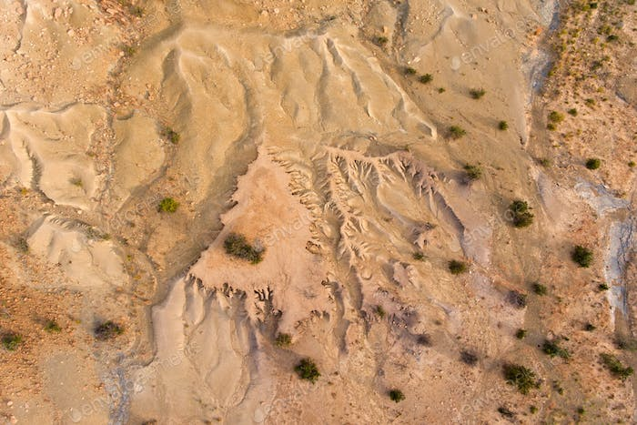 Aerial view of soil erosion