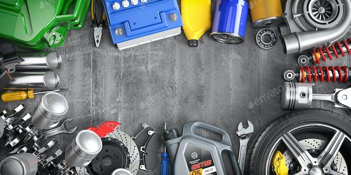 Autoteile, Ersatzteile und Zubehör. Auto-Service und Autoreparatur-Werkstattkonzept.