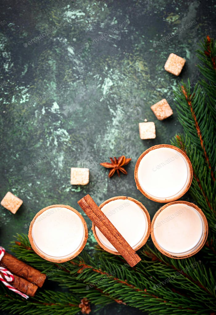 Christmas cocktail eggnog with cinnamon