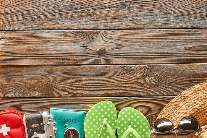 Travel and beach items still life