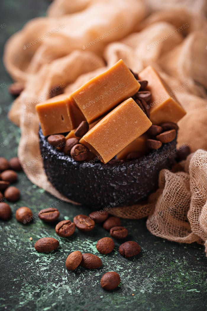 Fudge toffee candy with coffee beans
