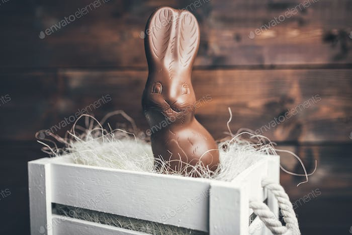 Chocolate Easter bunny inside a basket