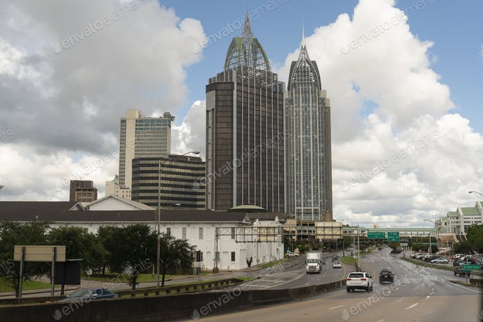 Highway Traffic Mobile Alabama Downtown City Skyline Gulf Coast