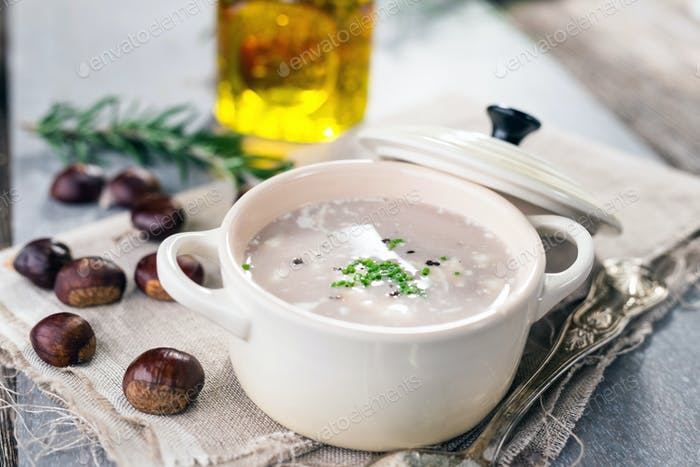 Autumn creamy chestnut soup
