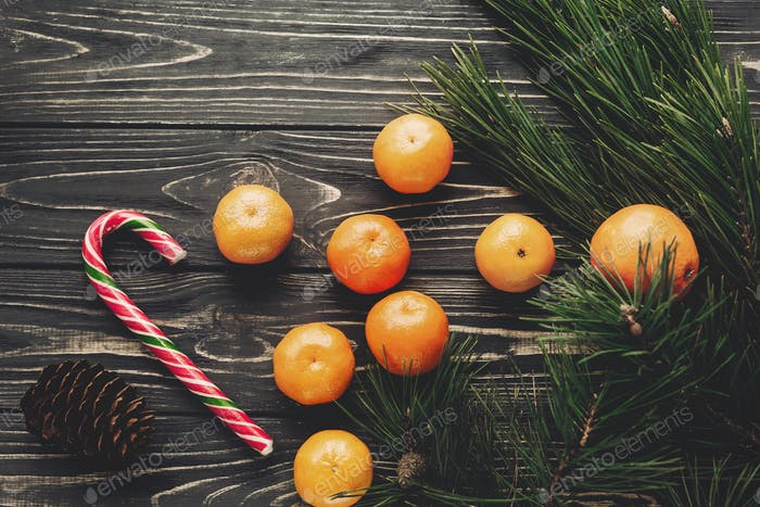 Tangerines and fir branches anise and pine cones on rustic wooden background