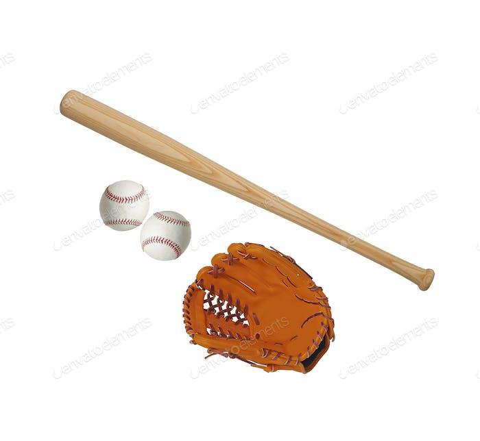 BaseballThema auf weißem Hintergrund isoliert
