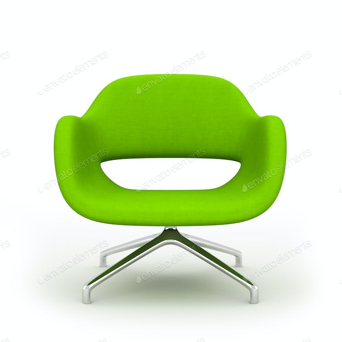 Green modern armchair isolated on white background 3d rendering